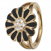 Christina Ring - Black Marguerite, Gold Plated