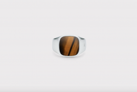 Frederik IX Signet ring Cushion med Tiger eye