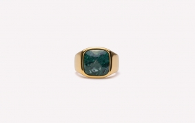 Frederik IX Signet ring Cushion med Green Marble