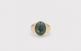 Frederik IX Oval Signetring Green Marble forgyldt