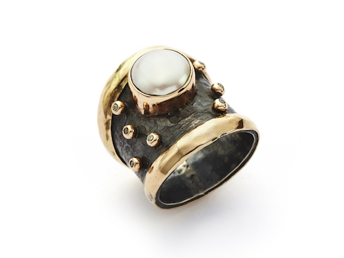 By Birdie ring - Empire Gold Pearl Brill
